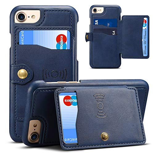 Iphone 8 Leather Wallet Phone Case, Magnetic Kickstand Card Holder Cover, - Leather Phone Wallet Fire Case