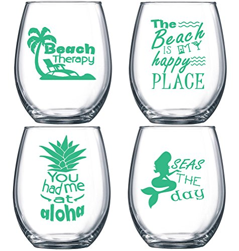 SET OF 4 -Stemless Boat Wine Glasses-Nautical Themed, Plastic, 16oz, Pool Wine Glasses, Shatter Proof Drinking Glasses for Wine or Cocktails ()