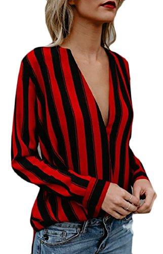 FLCH+YIGE Womens Sexy Deep V Neck Stripe Blouse LNG Sleeve Shirt 1 XS