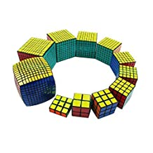 Qm-h Set of 11 Pieces 1x3x3 2x2x2 3x3x3 4x4x4 5x5x5 6x6x6 7x7x7 8x8x8 9x9x9 10x10x10 11x11x11 Sticker Speed Magic Cube Classical Puzzle Black