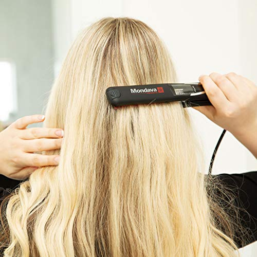 """MONDAVA Professional Ceramic Tourmaline Hair Straightener Flat Iron and Curler, Ionic Dual Voltage Adjustable Digital LED Technology, Straighten and Style Wild Hair in 8 Min, 1"""""""