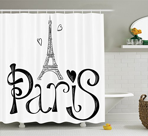 - Ambesonne Paris City Decor Collection, Eiffel Tower France Heart Shapes Silhouette Decorative Vacation Art Design, Polyester Fabric Bathroom Shower Curtain Set, 75 Inches Long, Black and White