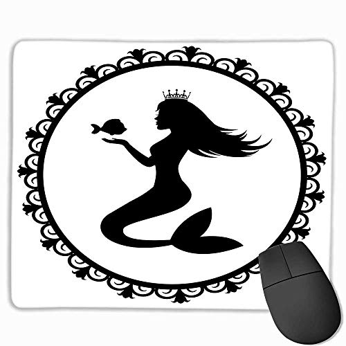 Mermaid Waterproof Mice Pad Vintage Style Graphic Illustration of a Framed Princess Mermaid with Crown and Fish Custom Mouse pad 11.8