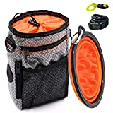 Dog Treat Training Pouch, Collapsible Slow Feeder Bowl and Pet Clicker Large Capacity Snack Bag Built-in Poop Bag Dispenser Anti-Bacterial Waterproof Fabric, Washing Machine