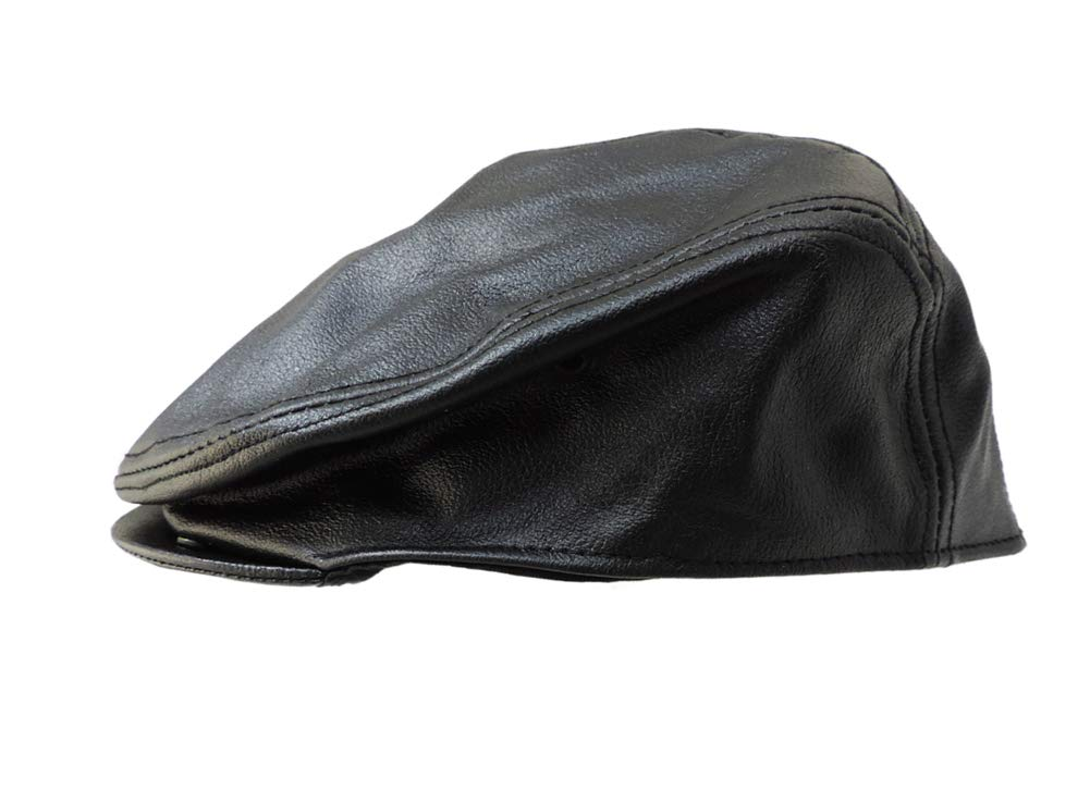 Allstate Genuine Black Leather Ascot Ivy Cap XL
