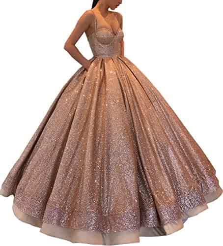 f2e4a6166 gsunmmw Long Prom Dresses 2019 Sparkling Quinceanera Ball Gown Spaghetti  Strap Birthday Evening Party Dress GS140