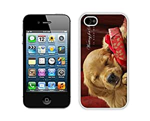 Provide Personalized Customized Christmas Sleeping Dog Iphone 4s,Apple Iphone 4s White TPU Cover Case