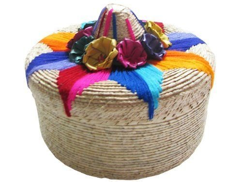 Tortillero Tortilla Warmer Straw Basket Pancake 8'' Mexico Kitchen Tradition Gift