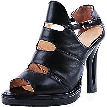 ENMAYER Womens Patent Leather Buckle Strap Peep Toe Fretwork Heels Casual Dress Sandals