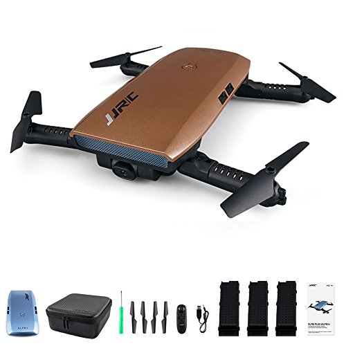 JJRC H47 Elfie WIFI Foldable Selfie Pocket Drone Mini Quadcopter with 720 Camera, 3 Batteries with H47 Shell (Brown, with 3 Batteries)