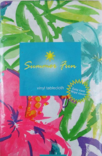 Watercolor Tropical Flowers Abstract Vinyl Flannel Back Tablecloth
