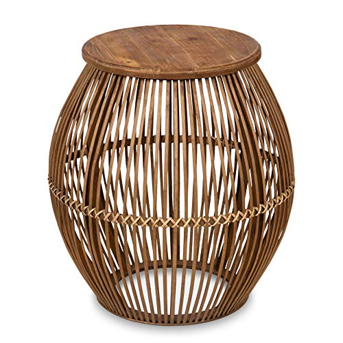 Kate and Laurel Torry Round Bamboo Side Table, Light Brown