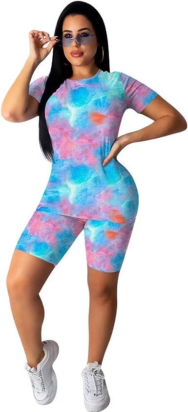 Fashion Women Spring/&Summer Digital Print Short Bodycon Sports Set Jumpsuits 2pc