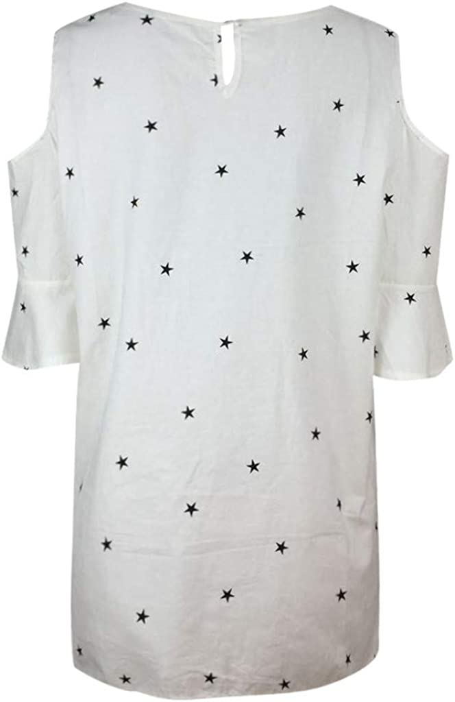 Plus Size Tops,Women Casual Off The Shoulder O Neck Short Sleeve Star Print T Shirt Blouse