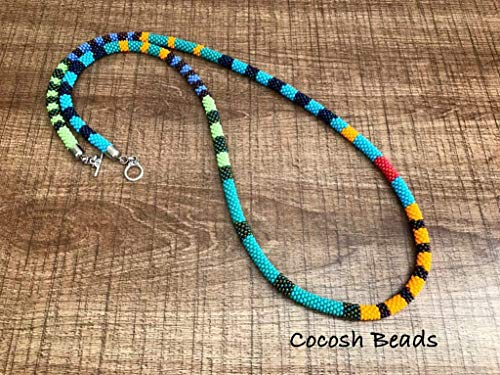 Beaded crochet rope necklace african bead necklace handmade statement woman gift