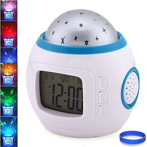 Joystar Sky Star Night Light Projector Lamp Bedroom Alarm Clock With music by JOYSTAR