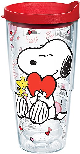 Snoopy Valentines Day (Tervis 1136322 Peanuts - Valentine's Day Tumbler with Wrap and Red Lid 24oz,)