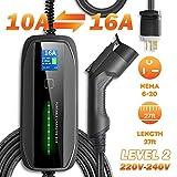 BESENERGYEVChargerLevel2J1772 EVSE27ftHome Current-Switchable220V-240V IP6610A/16APortableChargeStationCompatiblewithAllEVCars