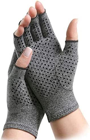 ArthritisHope Therapeutic Compression Gloves with Grips - Hand and Finger Support, Comfort and Relief from Pain Caused by Osteoarthritis & Rheumatoid Arthritis (Small)