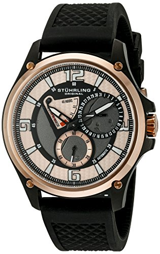 Stuhrling Original Men's 251.339655 Classic Ascot Atlas Automatic Power Reserve Date Rubber Strap Watch Power Reserve Rubber Strap