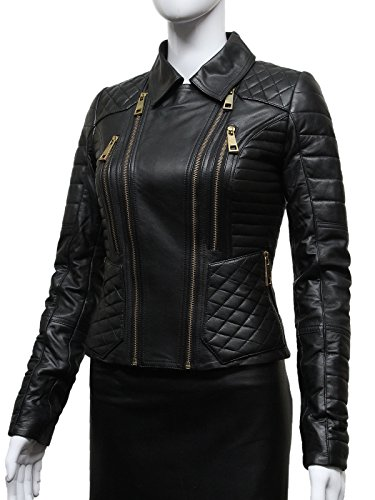Brandslock Damas Mujeres Doble Breasted Diamante Negro Quilted Chaqueta de Cuero Zipper Design negro