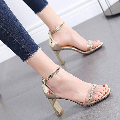 GTVERNH Schnallen Sandalen Frauen 7Cm Grob Hacken 7Cm Frauen Sommer Wasser Läuft Transparent Mode Damenschuhe. ae5b33