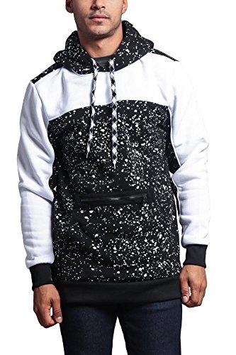 G-Style USA Long Length Splattered Contrast Hoodie JK736 - BLACK/WHITE - Large - J4C