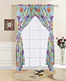 Linens And More 2 panel 2 tiebacks mixed colorful kids butterfly curtain (4 piece set)