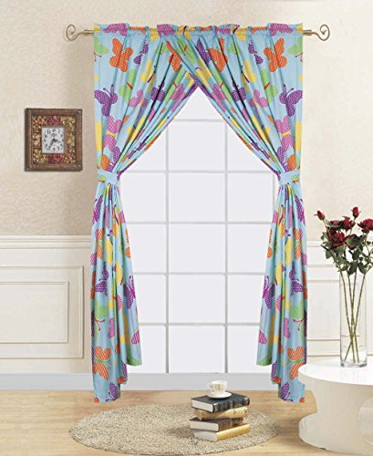 Linens And More 2 panel 2 tiebacks mixed colorful kids butterfly curtain (4 piece set) by Linens And More
