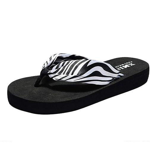 dac61e9fc Hyuniture Beach Shoes for Women Black Zebra Pattern Bohemian Flip Flops  Flat Beach Drag Flat Sandals at Amazon Women s Clothing store