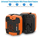 World Travel Adapter, Cellularvilla Universal Travel Adapter with Power Bank [6000mAh], Dual USB, All-In-One International Plugs for Europe Italy UK Asia travel accessories - Orange