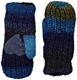Isotoner Women's Chunky Cable Knit Sherpasoft Mittens, Navy Textured, One Size