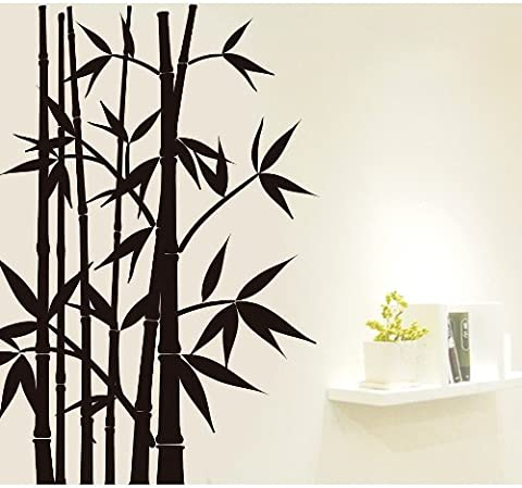 Wallmates Home Decor Mural Vinyl Wall Sticker Black Bamboo Forest Kids Nursery Room Wall Art Decal - Bamboo Wall Decals