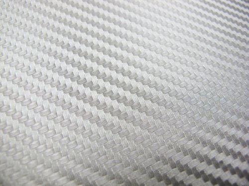 Ijdmtoy 24 By 48 Inches 3d Twill Weave White Silver Carbon