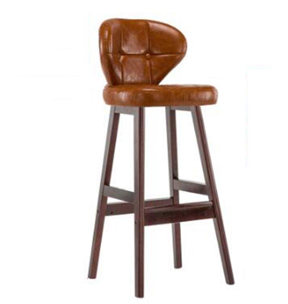 カウンターチェアソリッドウッドシートハイスツールバーキッチン朝食ダイニングチェアPUレザークッションブラウンと背もたれの椅子 (色 : B) B07DGN14LM B B