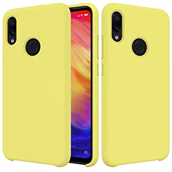 CoverTpu Funda Xiaomi Redmi Note 7 Silicona, Amarillo Funda Líquido de Silicona Gel TPU Flexible, Carcasa para Xiaomi Redmi Note 7 Anti-Rasguño y ...