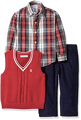 Izod Kids Little Boys 3 Piece Solid Sweater Vest Set, Red, Medium/5/6)