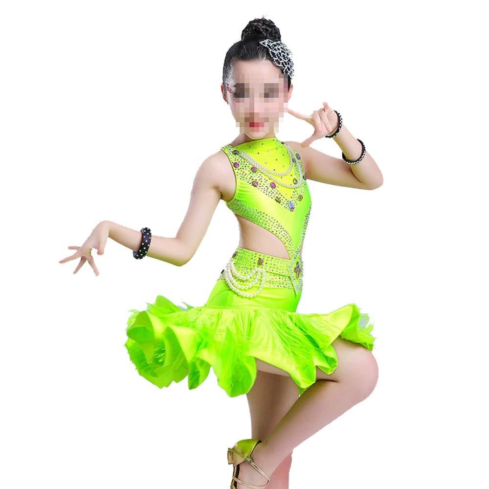 Tango Tanzkleid Outfits Pailletten Quaste Rock Latin Dance Kostüme für Kinder Tanzkleider (Farbe   Grün, Größe   160cm) B07PDWTHQ4 Bekleidung König der Menge