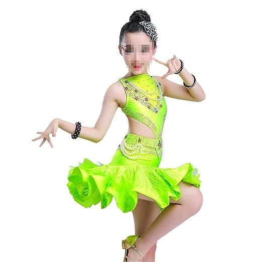 Vestido de Baile Falda Borla de Lentejuelas Trajes de Baile Latino ...