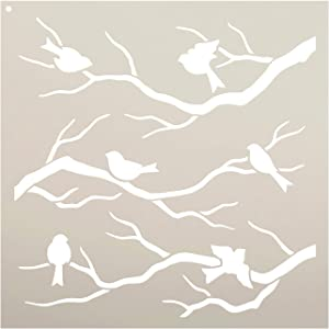 Birds & Branches Stencil by StudioR12 | Reusable Mylar Template | Crafters and Sign Makers can Paint DIY Nature Home Decor - Furniture - Scrapbook- Cards - Choose Size (12