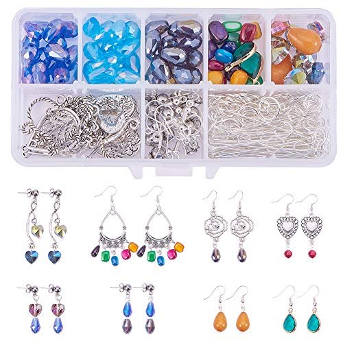 Chandelier Set Pendant (SUNNYCLUE 1 Set 214pcs Chandelier Earring Drop and Charm Pendant DIY Jewelry Making Starter Kit Include Drop Shell Heart Beads, Chandelier Components Link,Earring Hooks and Jewelry Findings)