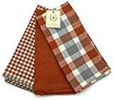 The Prairie Set of 3 Farmhouse Kitchen Towel Set - Copper Rust Plaid Checkered Solid Styles