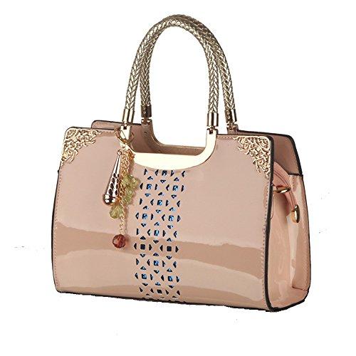 (Patent PU Leather Handbag Hollow-out Handbags Single Shoulder Bag Tote Purse (Pink))