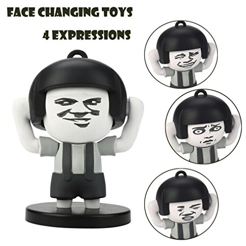 E-SCENERY 4 Faces Mushroom Head Face Toys, Funny Facial Expressions Decompression KeyChain Stress Relief (Pastilles Key Ring)