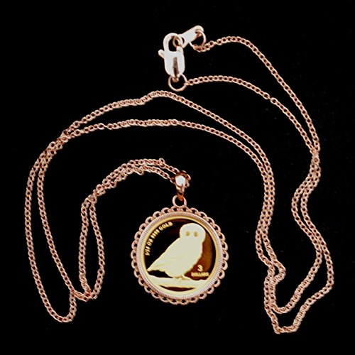 2008 Tuvalu 125 oz .9999 Fine Gold Wise Owl BU Uncirculated Proof Coin Necklace 12K Solid Rose Gold Bezel /& 14K Solid Rose Gold Chain