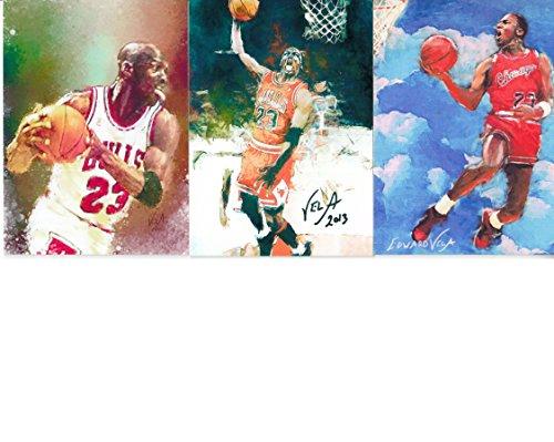 MICHAEL JORDAN - THE FIRST THREE (3) Edward Vela Sketch Cards - MJ #1, #2, & #3 - Chicago Bulls - VINTAGE Edward Vela Sketch Cards - SPECIAL LIMITED EDITION SET OF 3 SKETCH CARDS - BUY THEM NOW OR MAKE OFFER!
