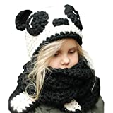 Ecurson Winter Kids Cute Warm Panda Animal Hats Knitted Hooded Scarf Beanies Set