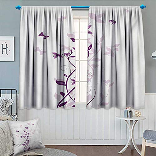 Anhounine Purple,Blackout Curtain,Violet Tree Swirling Persian Lilac Blooms with Butterfly Ornamental Plant Graphic,Customized Curtains,Purple White,W72 x L63 inch