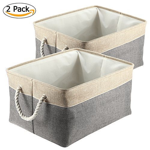 Haperlare 2 Pack Fabric Collapsible Storage Baskets, Foldable Linen Storage Box with Cotton Rope Handles, Decorative Rectangular Bins Large Cubes for Clothes Storage Toy Organizer Storage, Gray by Haperlare