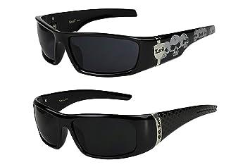 2er Pack Locs 9069 X 03 Sonnenbrillen Herren Damen Männer Brille - 1x Modell 02 (schwarz glänzend - Grid-Design/gelb getönt) und 1x Modell 04 (schwarz glänzend - Skull-Design/schwarz getönt) A3SJDAjO67